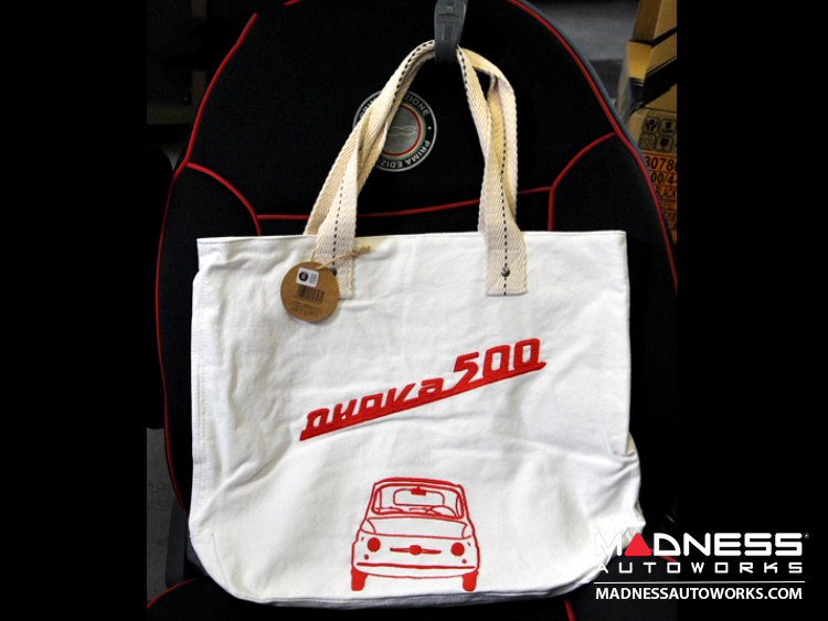 Classic Fiat 500 Cotton Canvas Bag - White w/ Classic Fiat 500 in Red