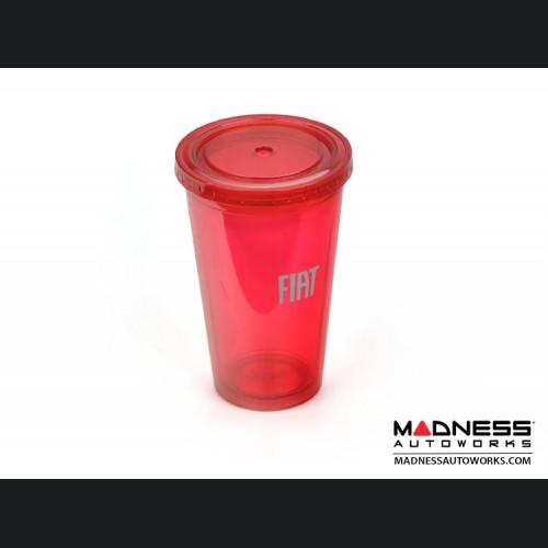 FIAT Plastic Drinking Cup w/ Lid - Red w/ FIAT Logo