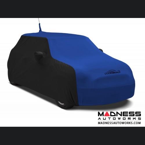 FIAT 500 Custom Vehicle Cover - Indoor Satin Stretch - Black w/ Grabber Blue