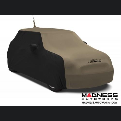 FIAT 500 Custom Vehicle Cover - Indoor Satin Stretch - Black w/ Sahara Tan