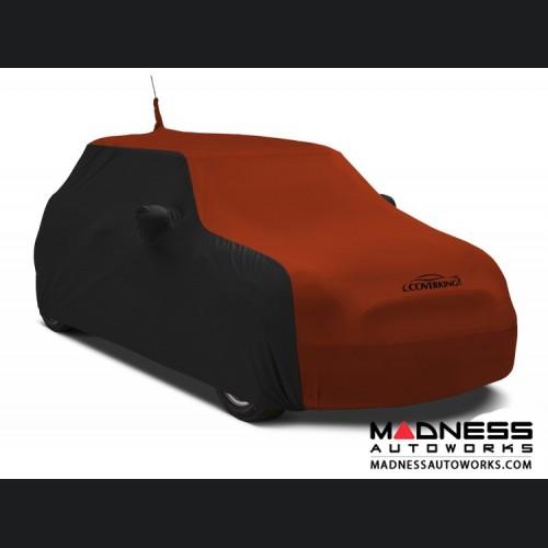 FIAT 500 Custom Vehicle Cover - Indoor Satin Stretch - Black w/ Go Mango Orange
