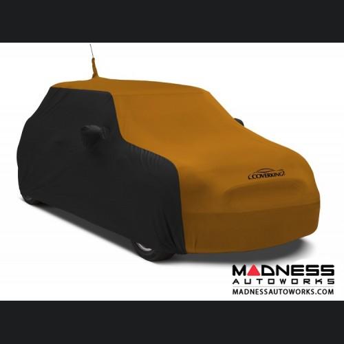 FIAT 500 Custom Vehicle Cover - Indoor Satin Stretch - Black w/ Grabber Orange