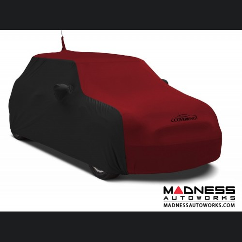 FIAT 500 Custom Vehicle Cover - Indoor Satin Stretch - Black w/ Pure Red