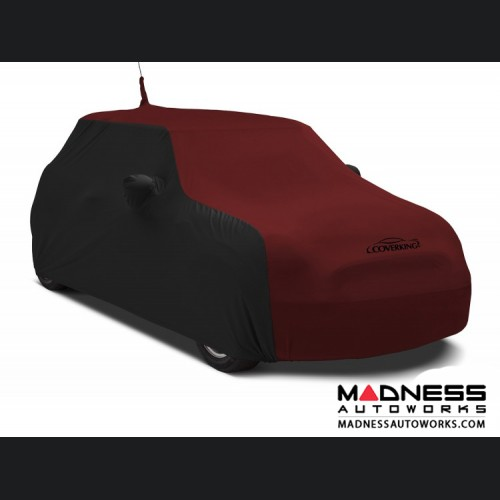 FIAT 500 Custom Vehicle Cover - Indoor Satin Stretch - Black w/ Ruby Red