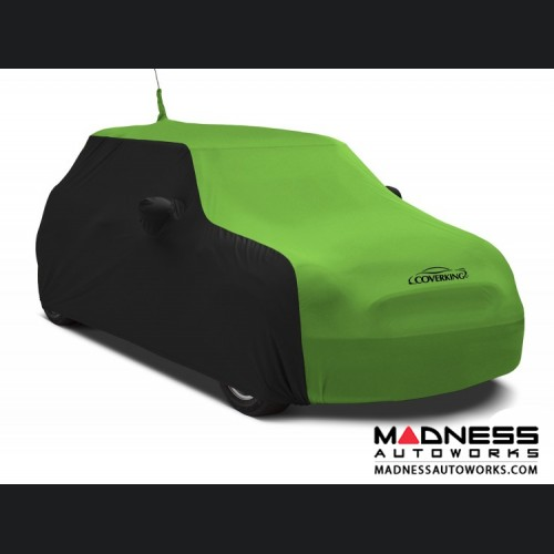 FIAT 500 Custom Vehicle Cover - Indoor Satin Stretch - Black w/ Synergy Green