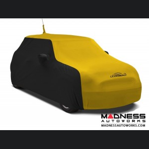 FIAT 500 Custom Vehicle Cover - Indoor Satin Stretch - Black w/ Velocity Yellow