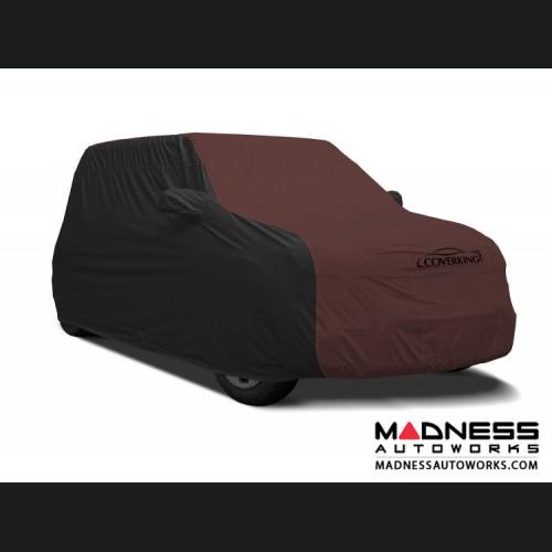 FIAT 500 Custom Vehicle Cover - Stormproof - Black w/ Wine Center