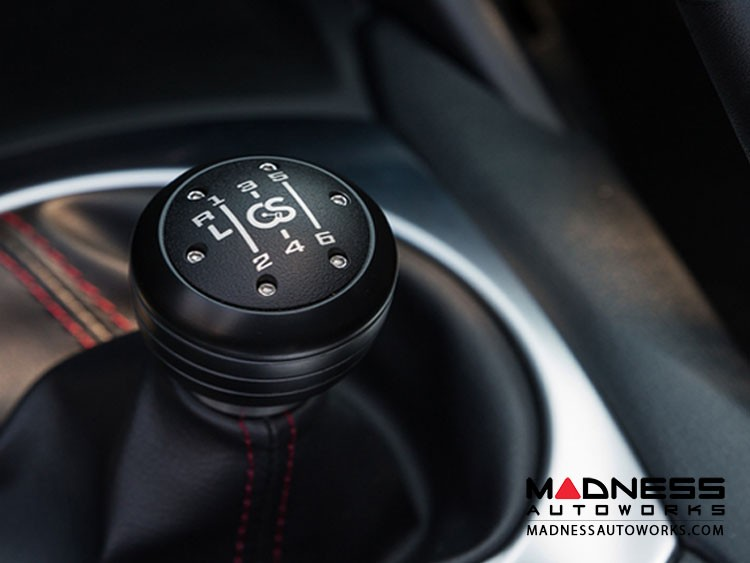 FIAT 124 Gear Shift Knob - Stainless Steel w/ Black Acetal Outer Sleeve + Black Top