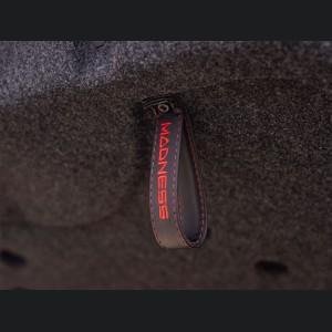 FIAT 500 Trunk Handle / Pull Strap - Black w/ Red Stitch + MADNESS Logo