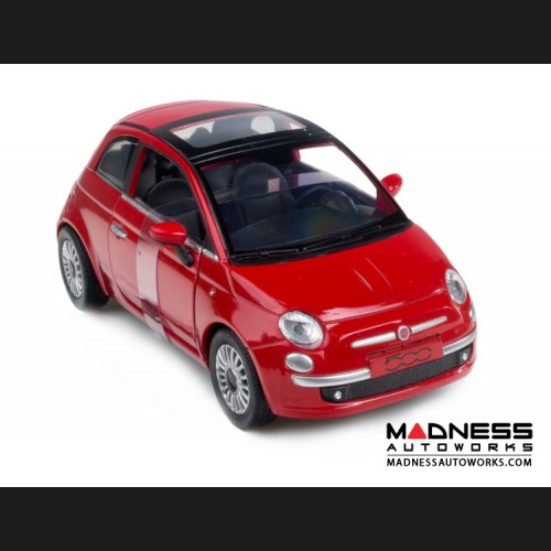 FIAT 500 Die Cast Model 1/24 Scale - Lounge - Red (New Ray)
