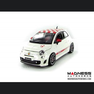 FIAT 500 Diecast Model 1/24 scale - ABARTH  (White with Red Checker top)