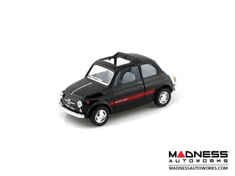 FIAT 500 Classic Diecast Model 1/28 scale - Black w/ Red Racing Stripe