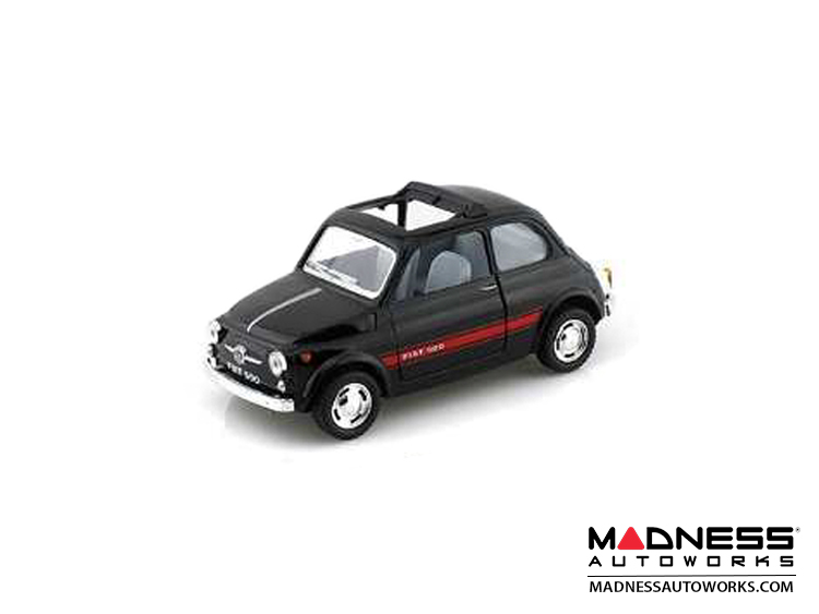 FIAT 500 Classic Diecast Model 1/24 scale - Black w/ Red Racing Stripe