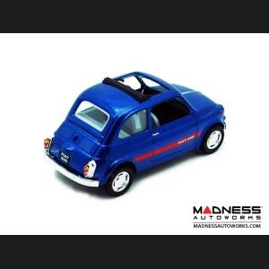 FIAT 500 Classic Diecast Model 1/24 scale - Blue w/ Red Racing Stripe