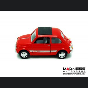 FIAT 500 Classic Diecast Model 1/24 scale - Red w/ White Racing Stripe