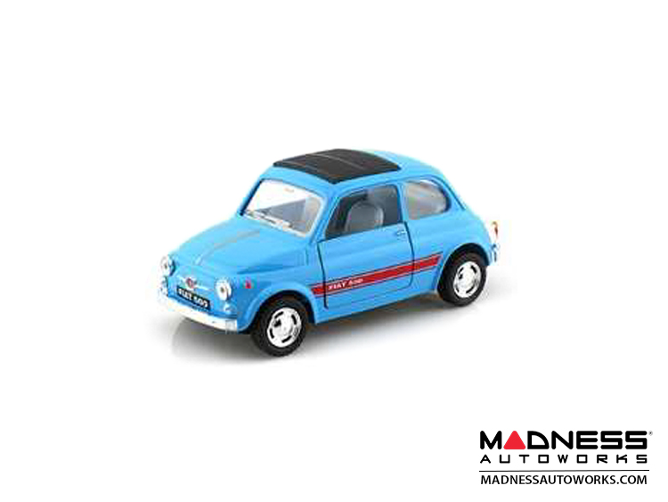 FIAT 500 Classic Diecast Model 1/24 scale - Light Blue w/ Red Racing Stripe
