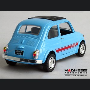 FIAT 500 Classic Diecast Model 1/24 scale - Light Blue w/ Red Racing Stripe