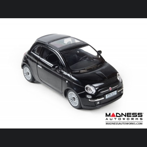 FIAT 500 Diecast Model 1/28 scale - Black - Kinsmart
