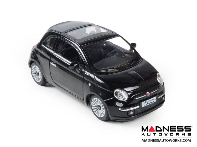 FIAT 500 Diecast Model 1/28 scale - Black - Kinsmart