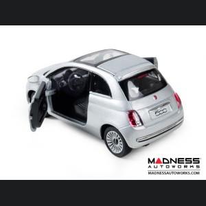 FIAT 500 Diecast Model 1/28 scale - Silver - Kinsmart