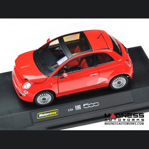 FIAT 500 Lounge - Die Cast Model - Red (1/24 scale) by Motorama