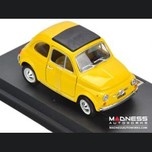 FIAT 500 F Classic Die Cast Model 1/24 Scale - Yellow - Bijoux Collezione by Bburago