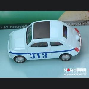 Fiat 500 Classic Die Cast Model 1/43 scale - Light Blue w/ 313 Racing Graphics