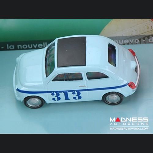 Fiat 500 Classic Die Cast Model (1/43 scale) - Light Blue w/ 313 Racing Graphics