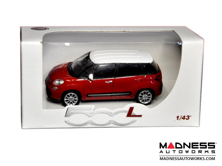 FIAT 500L Die Cast Model 1/43 scale - Red w/ White Top by FIAT