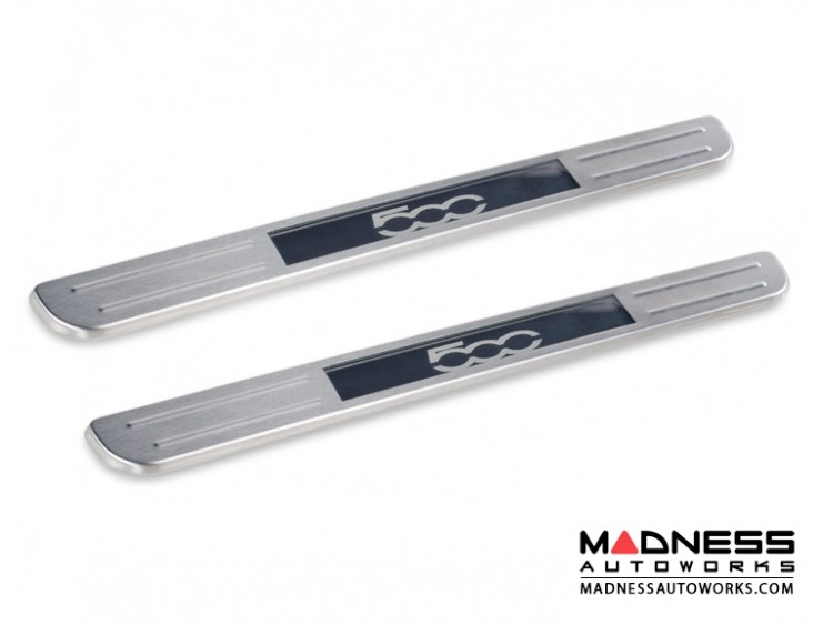 FIAT 500 Door Sills - Wireless LED Lighted - Brushed SS w/ 500 Logo