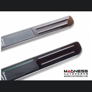 FIAT 500 Door Sills - Wireless LED Lighted - Black Chrome SS w/ FIAT Logo