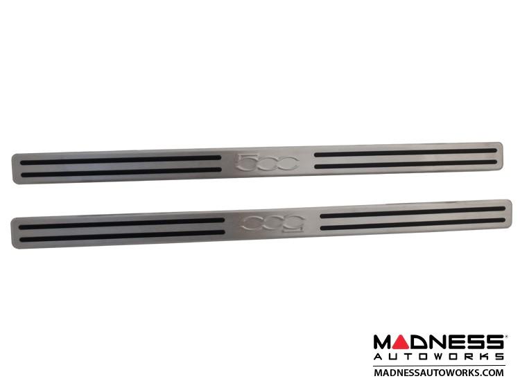 FIAT 500 Door Sills - Stainless Steel Kick Plates - w/ rubber insert strips +  500 Logo