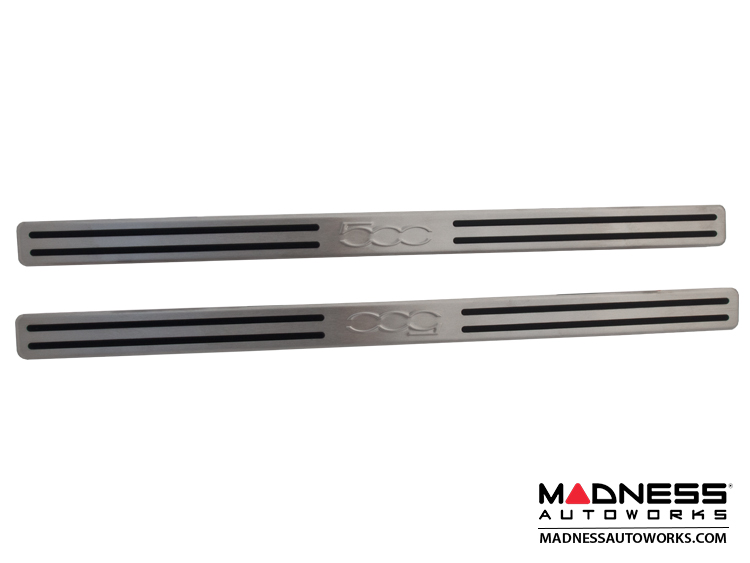 Fiat 500 Door Sills Stainless Steel Kick Plates 2 W