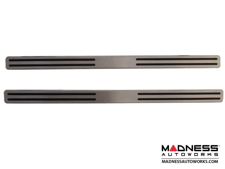 FIAT 500 Door Sills - Stainless Steel Kick Plates - w/ rubber insert strips - w/o 500 Logo