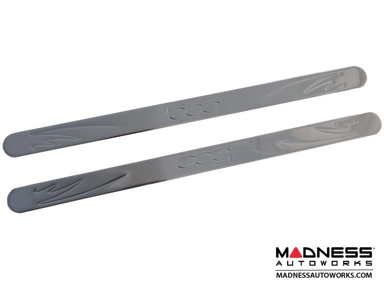 FIAT 500 Door Sills - Stainless Steel - 500 Embossed Logo