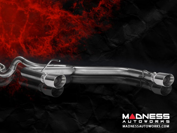 FIAT 500 Performance Exhaust - MADNESS - 1.4L Turbo - Cat-Back - Dual Exit - Monza - Polished Slash Cut Tips