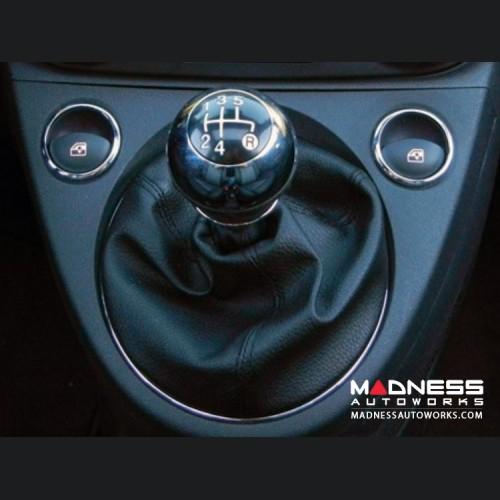 FIAT 500 Gear Shift Knob - Chrome w/ Black Base - Genuine FIAT