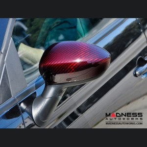 FIAT 500 Mirror Covers - Carbon Fiber - Red Candy
