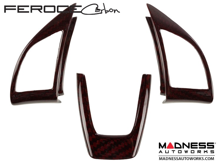 FIAT 500 ABARTH Steering Wheel Trim Set (3 pieces) - Carbon Fiber Red Candy