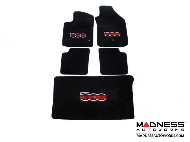 FIAT 500 Floor Mats - Premium Carpet - MADNESS - Front + Rear + Cargo Set - w/ Large 500 MADNESS Logo - w/o Bose