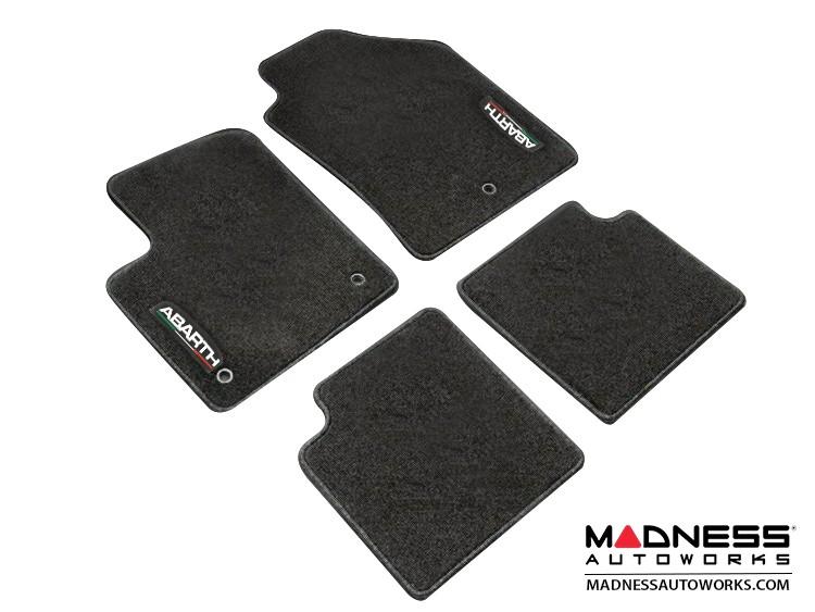 FIAT 500 Floor Mats - Carpet - Mopar - Front + Rear Set - w/ ABARTH Logo