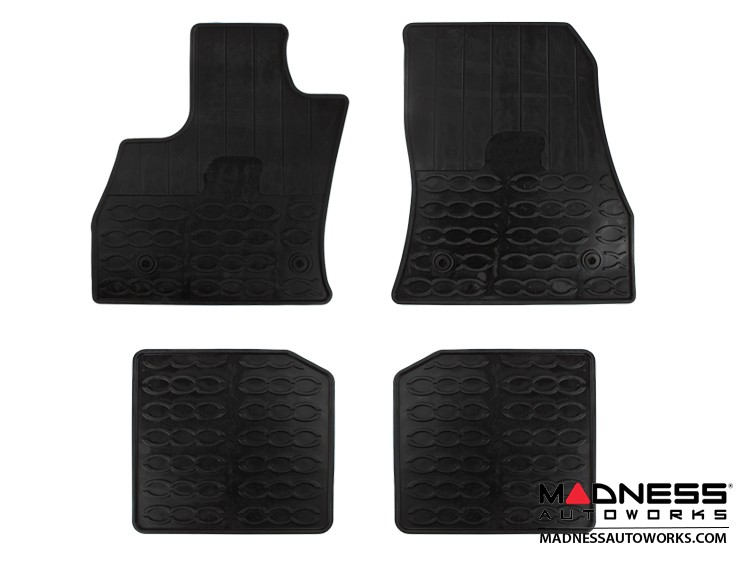 FIAT 500L Floor Mats - All Weather Rubber - LUXUS Premium - Front + Rear Set - Black