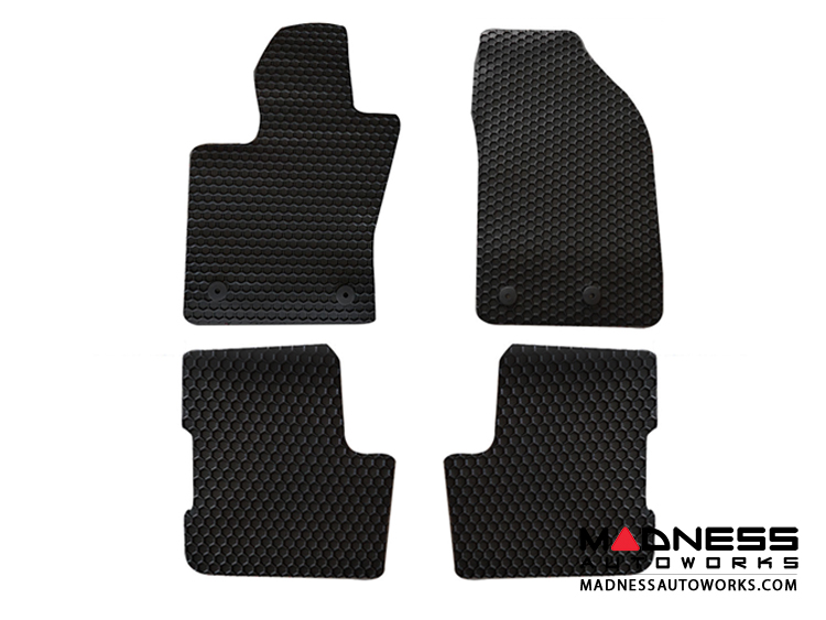 FIAT 500 Floor Mats - All Weather Rubber - Hexomat - Front + Rear Set