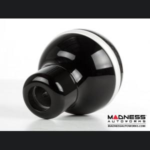 FIAT 500 Gear Shift Knob by BLACK  - Carbon Fiber Top/ Black Base and Pearl White Side Stripe