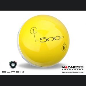 FIAT 500 Gear Shift Knob by BLACK - Yellow Top w/ Pearl White Base