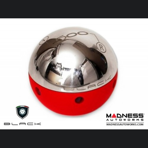 FIAT 500 Gear Shift Knob by BLACK - Chrome Top w/ Red Base