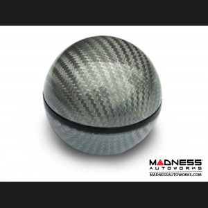 FIAT 500 Gear Shift Knob by BLACK - Silver Carbon Fiber w/ Black Insert