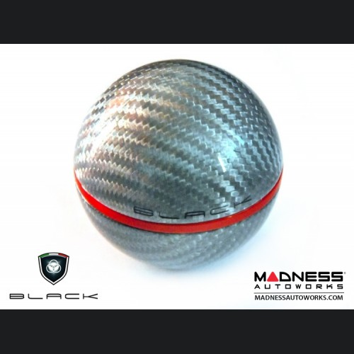 FIAT 500 Gear Shift Knob by BLACK - Silver Carbon Fiber w/ Red Insert - Fits ABARTH and Automatics