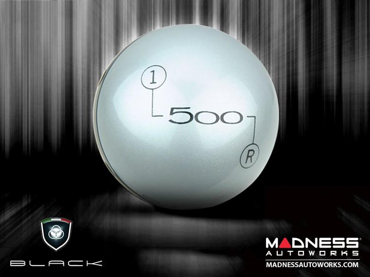 FIAT 500 Gear Shift Knob by BLACK - Silver Top w/ Black Base