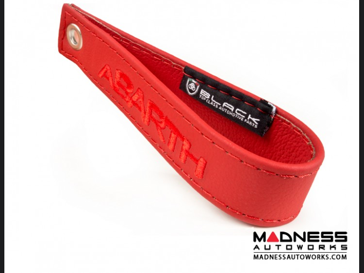 FIAT 500 Trunk Handle / Pull Strap - Red w/ Red Stitch + ABARTH Logo